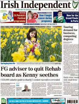 The front page of today's Irish Independent, Monday February 10.