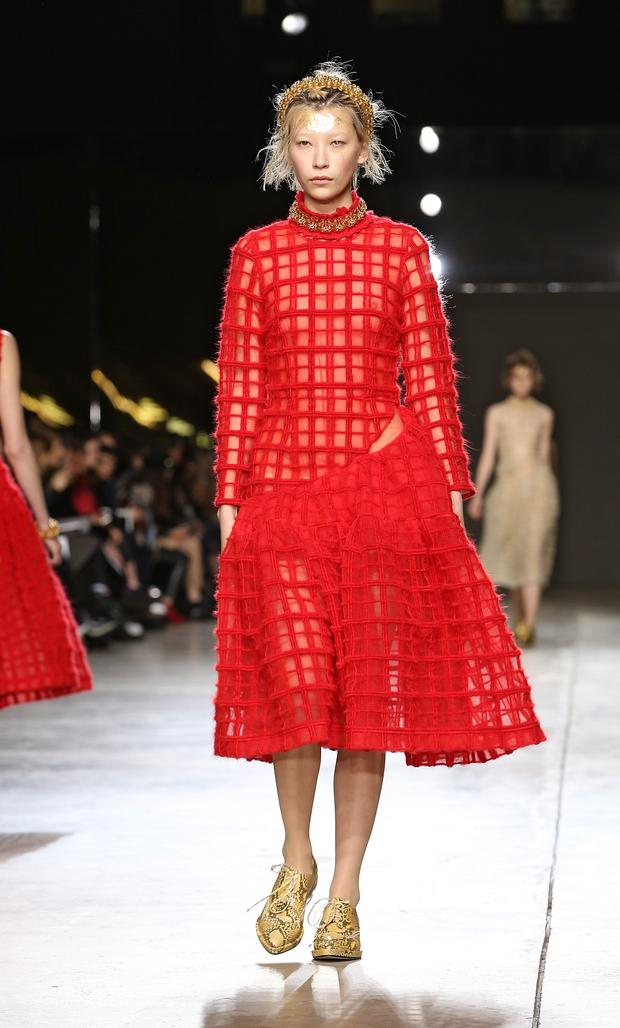 A model walks the runway at the Simone Rocha show at London Fashion Week AW14 at Tate Modern on February 18, 2014 in London, England. (Photo by Miles Willis/Getty Images)