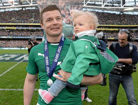 8 March 2014; Ireland's Brian O'Driscoll with his daughter Sadie after the game. RBS Six Nations Rugby Championship, Ireland v Italy, Aviva Stadium, Lansdowne Road, Dublin. Picture credit: Brendan Moran / SPORTSFILE