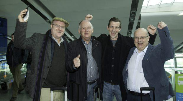 From left, Jonathon Fox with his Father Frank Fox both from Bray and David Colhoun with his father Eric Colhoun both from Cabinteely at Dublin Airport before boarding flights to go to the Cheltenham racing festival