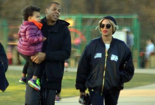 Beyonce and husband JayZ enjoying her day off with daughter Blue Ivy in the playground in the Phoniex Park Visitors centre.