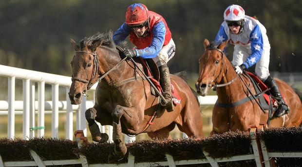 Quevega, with Ruby Walsh up, jumps the last on the way to winning at Punchestown