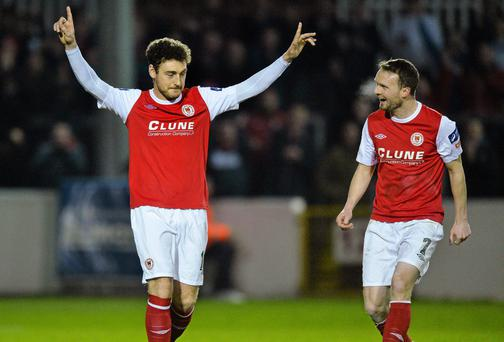 Mark Quigley (left) celebrates with team-mate Conan Byrne after scoring St Patrick's Athletic's first goal in the Setanta Cup quarter-final second leg against Ballinamallard United at Richmond Park, Dublin