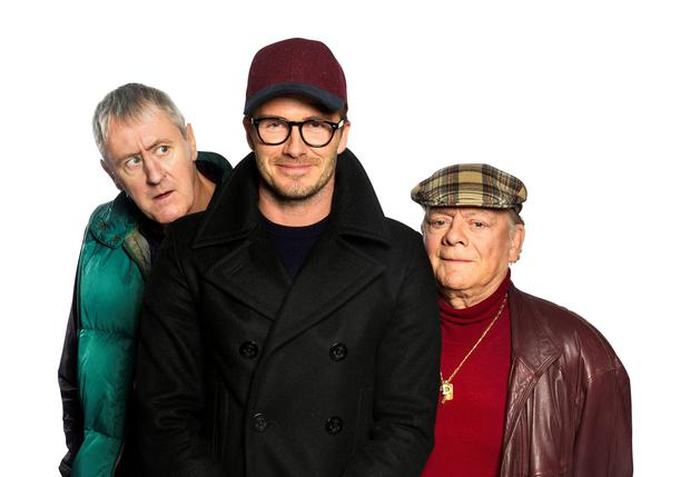 Comic Relief of David Beckham (centre) with Sir David Jason (right) and Nicholas Lyndhurst, as he joins the actors as a guest in a special Only Fools And Horses