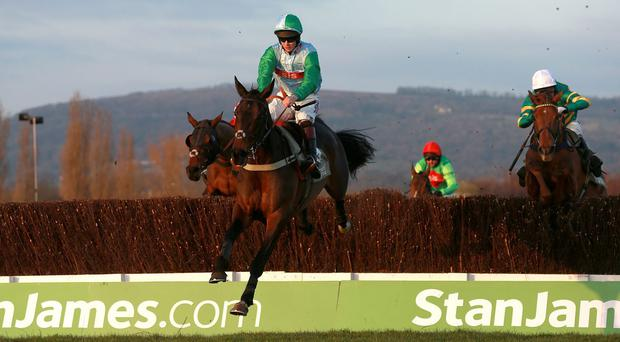 Present View ridden by Brendan Powell on their way to winning the Novices' Handicap Chase at Cheltenham