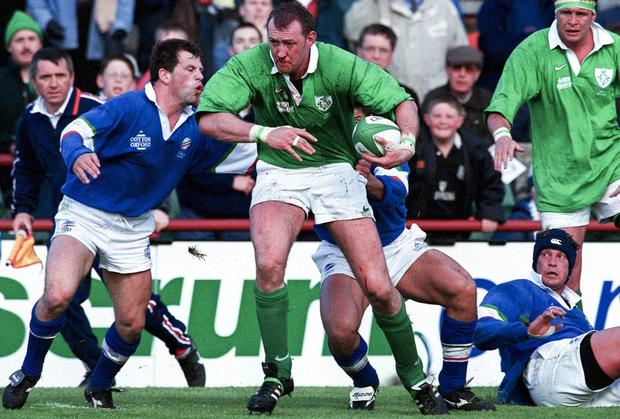 Trevor Brennan in action for Ireland at Lansdowne Road in 1999