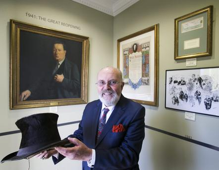 Senator David Norris holds a 130-year-old top hat at the launch of the Clerys Heritage Gallery. Leon Farrell/Photocall Ireland