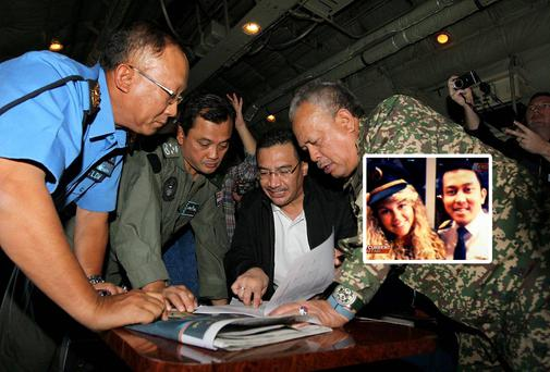 Officials have expanded the search area for missing Malaysia Airlines flight MG370 to include more of the Gulf of Thailand. Inset: Fariq Abdul Hamid invited two blondes into the cockpit of a of Malaysian airlines flight