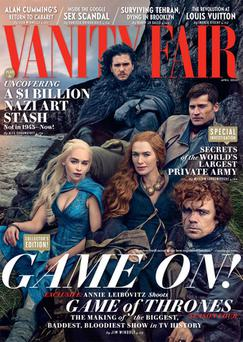 The Game of Thrones cast shot the cover of Vanity Fair in August 2014 in Northern Ireland.