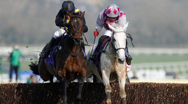 CHELTENHAM, ENGLAND - MARCH 12: Barry Geraghty riding O'Faolains Boy (L) clear the last to win The RSA Steeple Chase from Smad Place (R) at Cheltenham racecourse on March 12, 2014 in Cheltenham, England. (Photo by Alan Crowhurst/Getty Images)