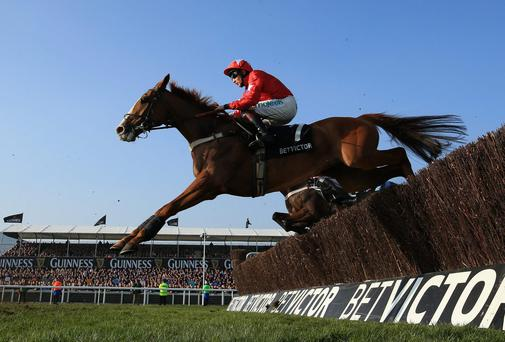 Jamie Moore on Sire De Grugy rides to victory in the Queen Mother Champion Steeple Chase at the Cheltenham