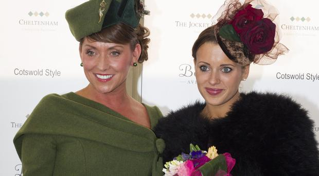 Camilla Henderson (right), the daughter of trainer Nicky Henderson who won the best dressed ladies competition at the day two of the Cheltenham racing festival, also with runner up Elaine Waterworth from Lisburn . Picture: Mark Condren
