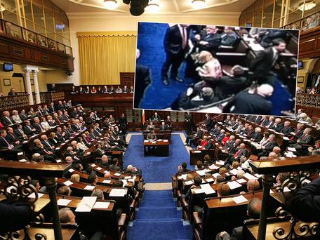 The Dail, inset, the 'lapgate' incident last summer during the Protection of Life During Pregnancy Bill debate. Inset the Dail bar clocked up almost €7,000 in sales that night