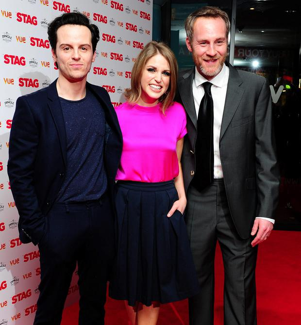 Andrew Scott, Amy Huberman and Peter McDonald attending a gala screening of The Stag held at the Vue cinema, London