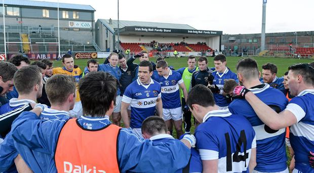 St Vincent's captain Ger Brennan delivers the pre-match team prior to the AIB club All-Ireland SFC semi-final against Ballinderry