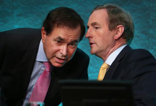 Taoiseach Enda Kenny with Justice Minister Alan Shatter at Dublin Castle earlier this year. Photo: Steve Humphreys