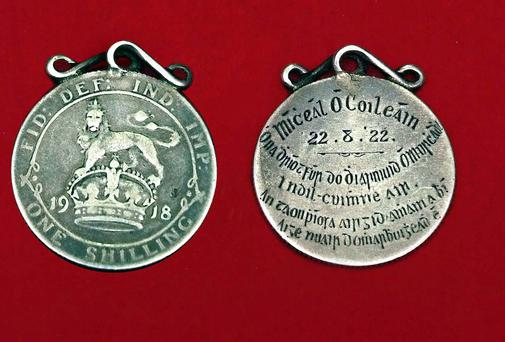 The Michael Collins Shilling with inscription on the back. Picture: Michael Brophy.