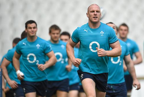Paul O'Connell lead the Irish team during the captain's run in Paris yesterday