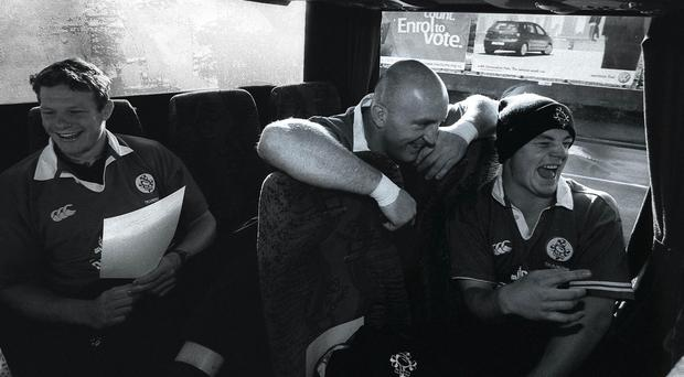 Keith Wood and Brian O'Driscoll have a laugh on the bus on the way to training during their time together playing for Ireland
