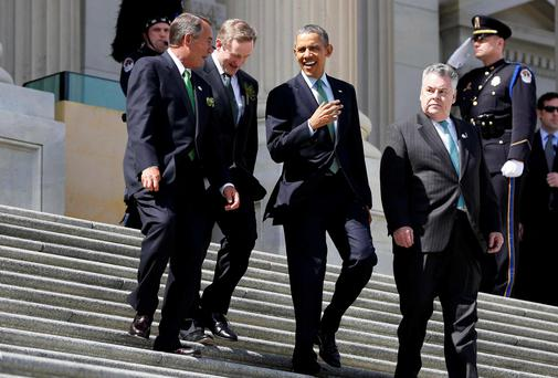 President Obama walks with, from left, House Speaker John Boehner, Taoiseach Enda Kenny and Rep. Peter King, on Capitol Hill. Photo: AP
