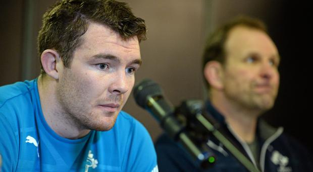 Peter O'Mahony, left, and forwards coach John Plumtree during a press conference ahead of their side's RBS Six Nations Rugby Championship match against France on Saturday