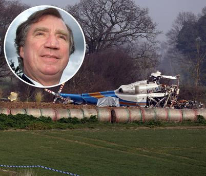 The scene of the helicopter crash in Gillingham, Norfolk in England. Inset: Edward Haughey, who was CEO of Norbrook Laboratories in Newry, Co Down