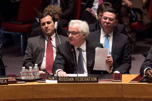 Russia's ambassador to the United Nations, Vitaly Churkin, addresses the U.N. Security Council in New York