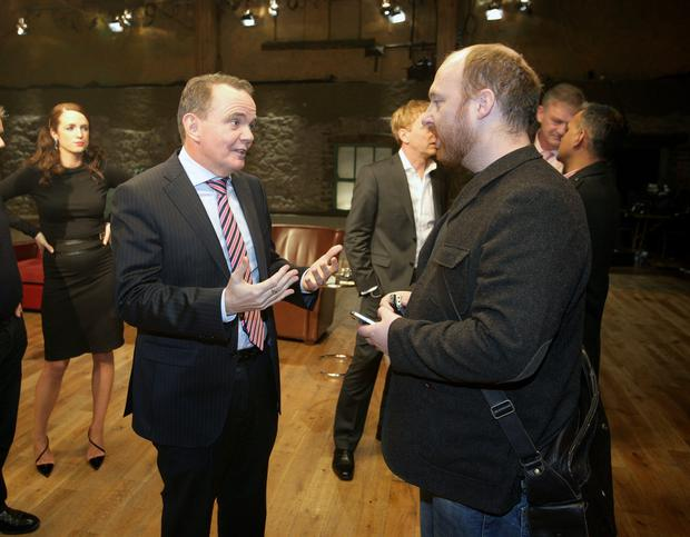 Dragons Den: Eoin Butler chats with Barry O'Sullivan on the set of the Dragons Den series 5.