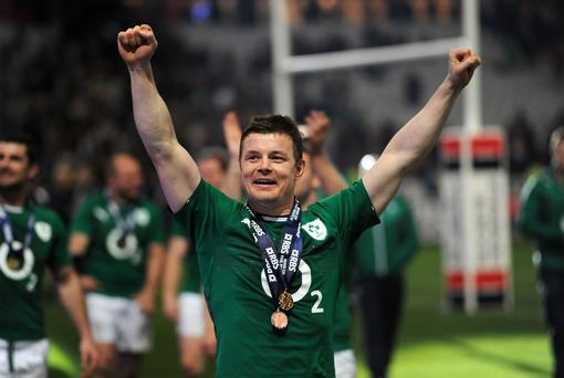 Ireland's Brian O'Driscoll celebrates after the Six Nations match at the Stade de France, Paris, France. PRESS ASSOCIATION Photo. Picture date: Saturday March 15, 2014. See PA story RUGBYU Ireland. Photo credit should read: Andrew Matthews/PA Wire. RESTRICTIONS: Editorial use only. No commercial use. No video emulation. Photographs cannot be altered or adjusted other than in the course of normal journalistic or editorial practice. Call +44 (0)1158 447447 for further information.