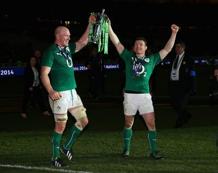 Paul O'Connell Brian O'Driscoll celebrate with the Six Nations Championship.