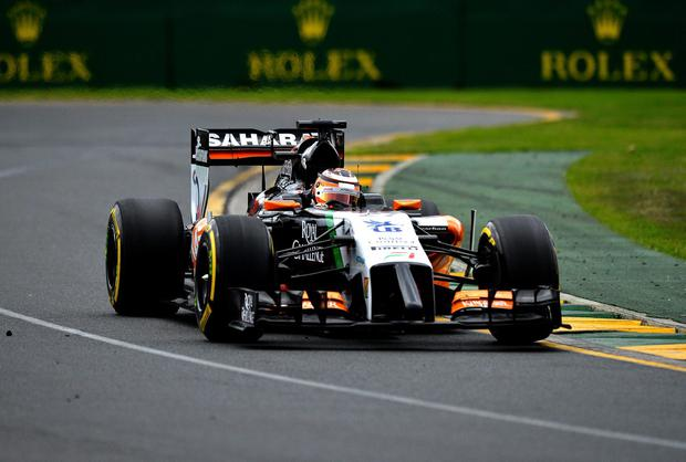 Force India driver Nico Hulkenberg powers his car through a bend during yesterday's qualifying session for this morning's Australian Grand Prix in Melbourne