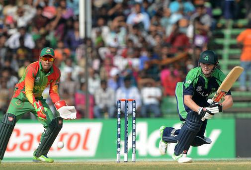 Captain William Porterfield plays a shot during his side's ICC Twenty20 World Cup warm up defeat to Bangladesh on Friday