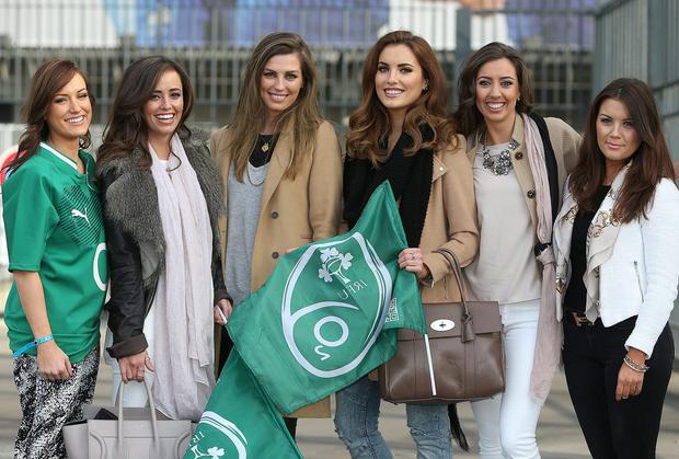 Irish Rugby team WAGs Jessica Moloney, Hayley Ryan, Aoife Cogan, Holly Carpenter, Mary Scott and Sinead Corcoran pictured before the match at Stade De France. Photo: GERRY MOONEY