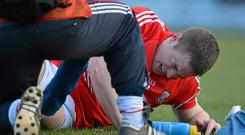 Colm O'Neill pictured after picking up his third cruciate injury in a league match against Donegal on this day 12 months ago