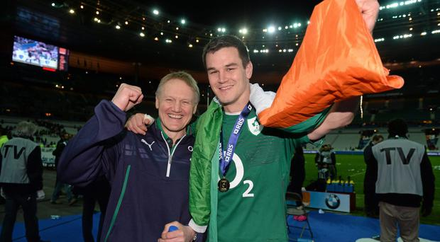 Ireland head coach Joe Schmidt and Jonathan Sexton following their victory