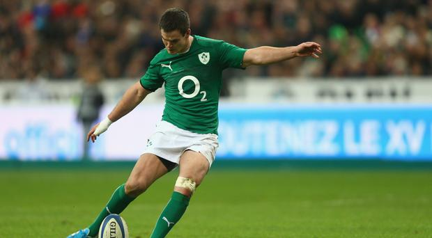 Jonny Sexton of Ireland kicks a conversion during the RBS Six Nations match between France and Ireland at Stade de France