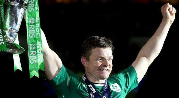 Brian O'Driscoll celebrates Photo: Gerry Mooney