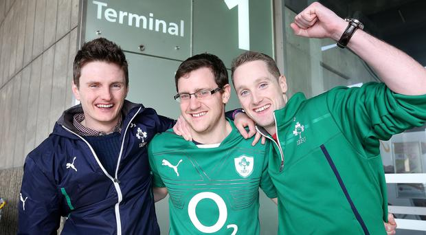 Irish fans John Henry, Jack Dolan and Keith Rafferty pictured at Paris Charles De Gaulles airport on their way home after the win over France. Picture; GERRY MOONEY. 16/3/14