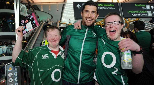 Rob Kearney with Ireland fans Ben Purcell, 19, and Charlie O'Reilly, form Dublin Picture: Caroline Quinn