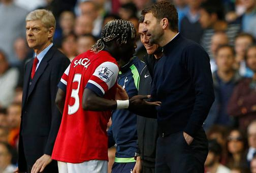 Arsenal's Bacary Sagna reacts after he was hit by a ball thrown by Tottenham Hotspur's manager Tim Sherwood
