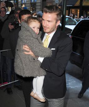 David Beckham and daughter Harper Seven (Photo by Alo Ceballos/FilmMagic)