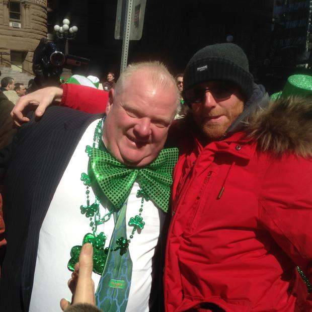 Aoife Black sent us this snap to contact@independent.ie 'Cathal O'Looney from Kilfenora Co.Clare was in Toronto where he met the one and only Toronto mayor Rob Ford - he managed to battle his way through the throngs of supporters'