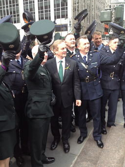 Taoiseach Enda Kenny meets members of the PSNI and Gardai Photo: Lise Hand