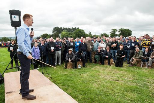 Teagasc grassland management specialist Michael O'Donovan addresses farmers at a Moorepark open day. Photo: O'Gorman Photography