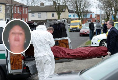 Gardai taking body of Mary Dargan (inset) from scene of shooting in Killinarden Estate, Tallaght. Photo: Caroline Quinn