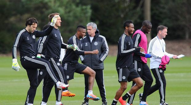 Chelsea coach Jose Mourinho looks on during yesterday's Chelsea training session
