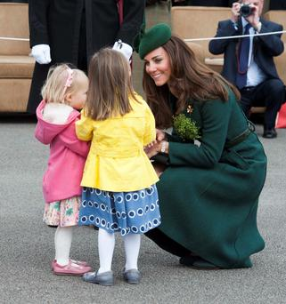 The Duchess of Cambridge during her visit to Mons Barracks in Aldershot, Hampshire, as the Irish Guards regiment marked St Patrick's Day.