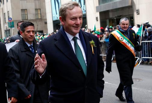 Taoiseach Enda Kenny marches up Fifth Avenue during the St. Patrick's Day parade in New York