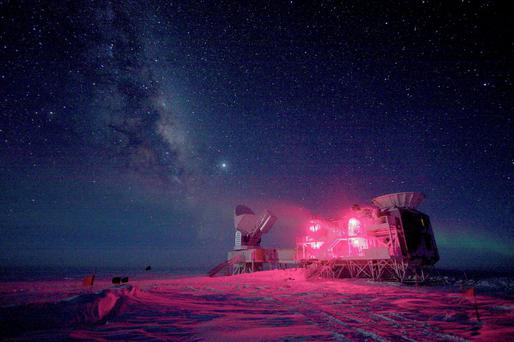 The 10-meter South Pole Telescope and the BICEP (Background Imaging of Cosmic Extragalactic Polarization) Telescope at Amundsen-Scott South Pole Station is seen against the night sky with the Milky Way in this National Science Foundation picture taken in August, 2008. Astronomers announced on Monday that they had discovered what many consider the holy grail of their field: ripples in the fabric of space-time that are echoes of the massive expansion of the universe that took place just after the Big Bang. The gravitational waves were detected by the BICEP telescope. REUTERS/Keith Vanderlinde/National Science Foundation/Handout