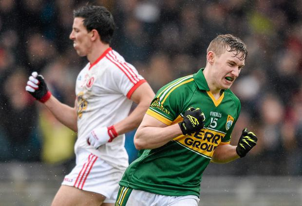 Kerry's James O'Donoghue celebrates scoring his side's first goal against Tyrone earlier this month